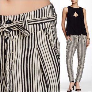 Free People black white stripe linen pants size 2